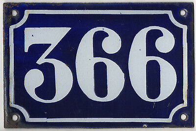 Old blue French house number 366 door gate plate plaque enamel metal sign c1900