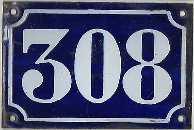 Old blue French house number 308 door gate plate plaque enamel metal sign c1900