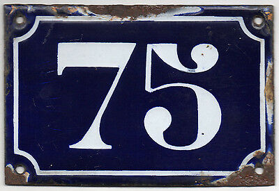 Old blue French house number 75 door gate plate plaque enamel metal sign c1900
