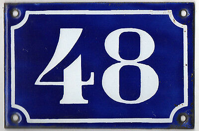 Old blue French house number 48 door gate plate plaque enamel metal sign c1900