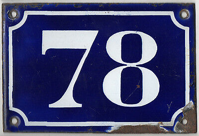 Old blue French house number 78 door gate plate plaque enamel metal sign c1900