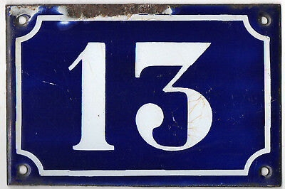 Old blue French house number 13 door gate plate plaque enamel metal sign c1900