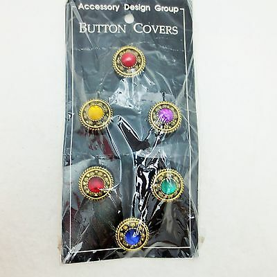 Set of 6 Textured Goldtone Jewel Multi Color Cabochon Button Covers