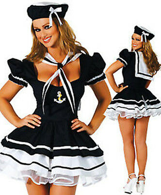 Halloween Womens Sailor Fancy Dress Costume outfit Lingerie Underwear 8-18