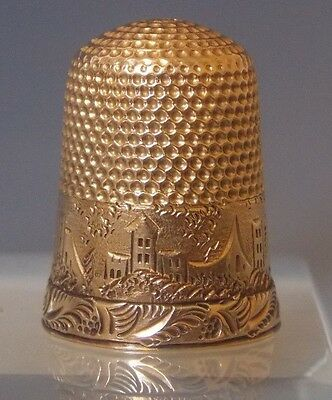 "Thimble 14k Yellow Gold Village Valley Scene Monogrammed ""Pauline 1884"" Sewing"