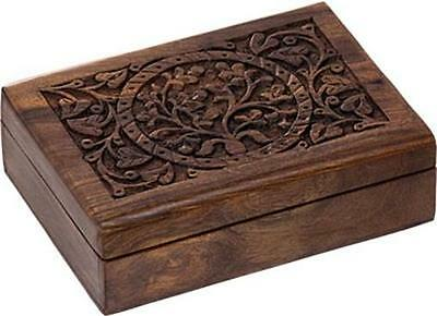 "7"" x 5"" Tree of Life Wooden Tarot Lined Box!"