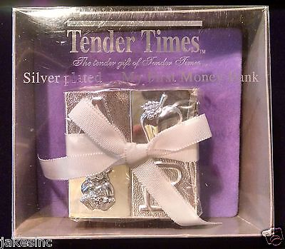 """Tender Times  """"My First Money Bank"""" Newborn Gift Silver Plated"""