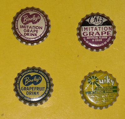 4 Soda Bottle caps – 2 Grape + 2 Grapefruit Metal With Cork Inside Nice Graphics