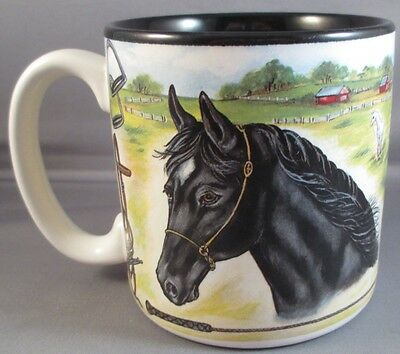 Coffee Mug Tea Horse Tack Ceramic Multi Color D Handle Vintage Korea Equestrian