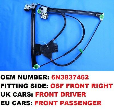 2/3 Door Vw Polo Right Electric Window Regulator Uk Front Driver Side