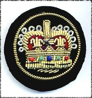 Large Fabric Button w/ Embroidered Royal Crown
