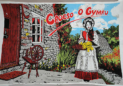 Tea Dish Towel Welcome From Wales UK Croeso O Gymru Souvenir Cottage Unused