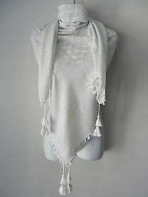 Solid white Arab Shemagh Head Scarf Neck Wrap Authentic Cottton Arafat Plain