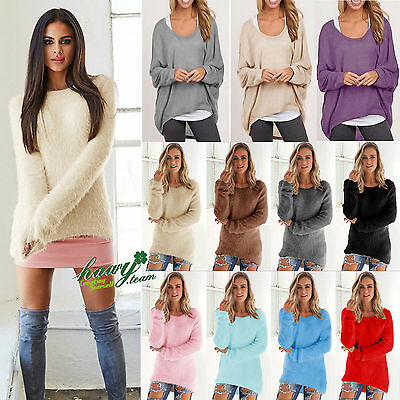 Womens Long Sleeve V Neck Loose Knitted Sweater Ladies Casual Jumper Tunic Tops