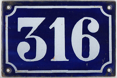 Old blue French house number 316 door gate plate plaque enamel metal sign c1900