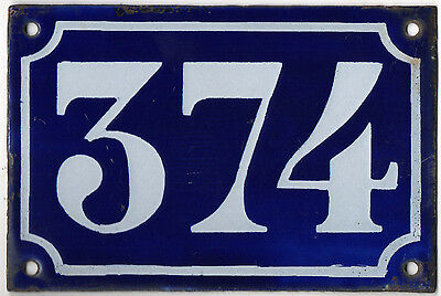 Old blue French house number 374 door gate plate plaque enamel metal sign c1900