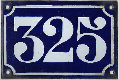 Old blue French house number 325 door gate plate plaque enamel metal sign c1900