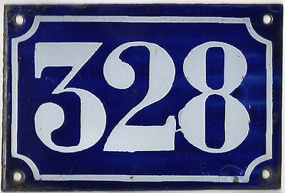 Old blue French house number 328 door gate plate plaque enamel metal sign c1900
