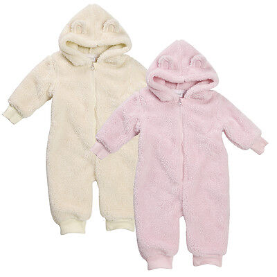 Baby Girls Fluffy All in One Snuggle Fleece Newborn up to 12 mths Pink or Cream