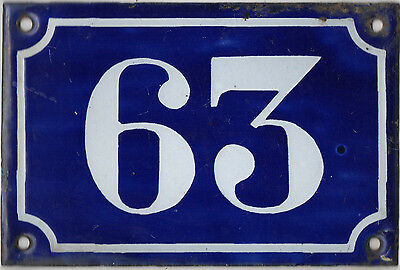 Old blue French house number 63 door gate plate plaque enamel metal sign c1900