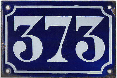 Old blue French house number 373 door gate plate plaque enamel metal sign c1900