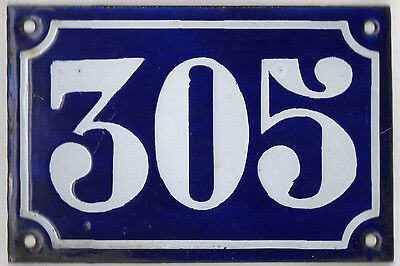 Old blue French house number 305 door gate plate plaque enamel metal sign c1900