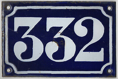Old blue French house number 332 door gate plate plaque enamel metal sign c1900