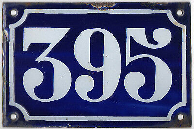 Old blue French house number 395 door gate plate plaque enamel metal sign c1900