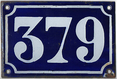 Old blue French house number 379 door gate plate plaque enamel metal sign c1900