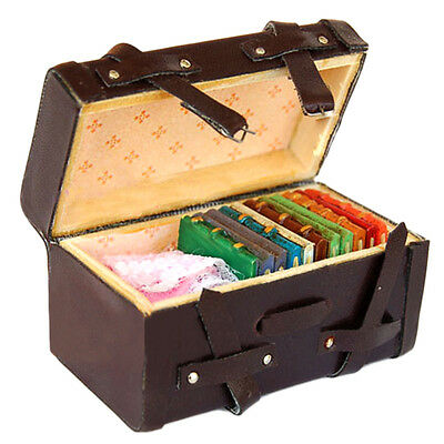 1:12 Dollhouse Miniature Vintage Leather Wood Suitcase Mini Luggage Box