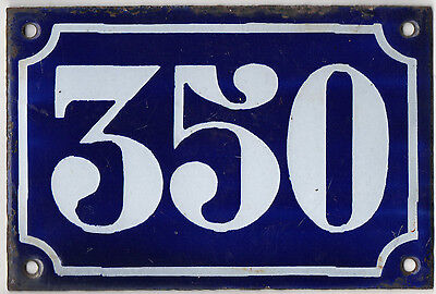 Old blue French house number 350 door gate plate plaque enamel metal sign c1900
