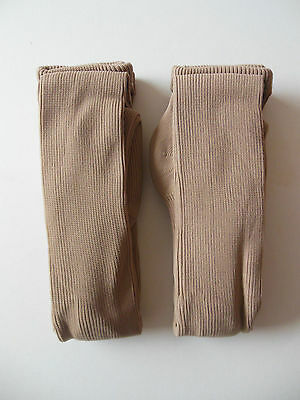 Girls thick ribbed winter tights, age 9-10 years, beige/fawn,2 pair pack