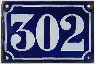 Old blue French house number 302 door gate plate plaque enamel metal sign c1900
