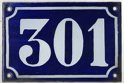 Old blue French house number 301 door gate plate plaque enamel metal sign c1900