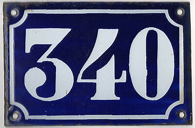 Old blue French house number 340 door gate plate plaque enamel metal sign c1900