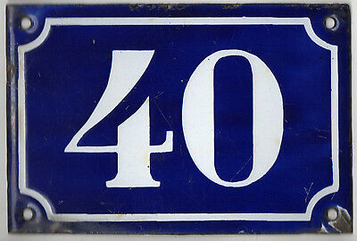 Old blue French house number 40 door gate plate plaque enamel metal sign c1900