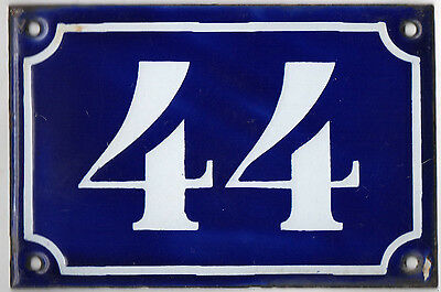 Old blue French house number 44 door gate plate plaque enamel metal sign c1900