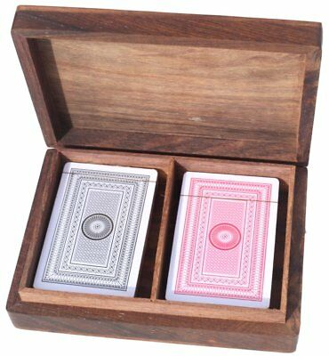 Polished wooden playing card box with two packs of cards