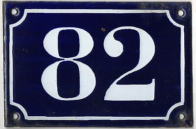 Old blue French house number 82 door gate plate plaque enamel metal sign c1900