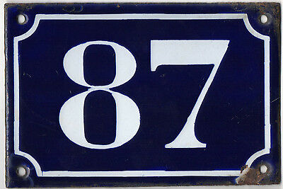 Old blue French house number 87 door gate plate plaque enamel metal sign c1900