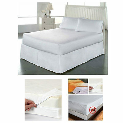 Fabric Twin Size Zippered Mattress Cover Waterproof Bed Bug Dust Mite Protector