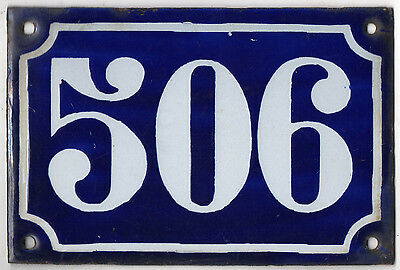 Old blue French house number 506 door gate plate plaque enamel metal sign c1900
