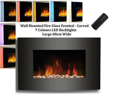 Galleon Fires - Taurus Wall Mounted Electric Fire Black CURVED Glass Large 88cm