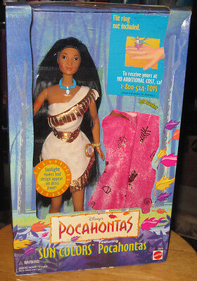 Disney Sun Colors POCAHONTAS doll by Mattel 1995 Barbie type from Pocahontas