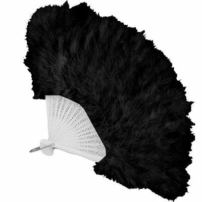 20'S Flapper Fancy Feather Hand Fan Black Roaring 20S Costume Accessory