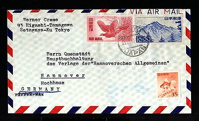 12910-JAPAN-AIRMAIL COVER TOKYO to HANNOVER (germany)1957.Aereo japon.Enveloppe.