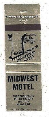 Midwest Motel Hwy 275 Wisner NE Cuming County Matchcover 092716