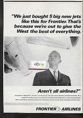 Frontier Airlines 1967 Bought 5 727 Arrow Jets Best In The West Lewis Dymond Ad