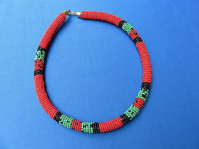 New Item! Maasai Kenya African Jewelry Ethnic FAIR TRADE BEADED ROPE NECKLACE A