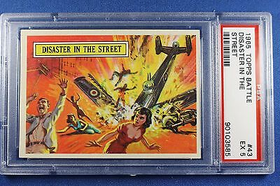 1965 Topps Battle Cards - #43 Disaster In The Street - PSA Ex 5